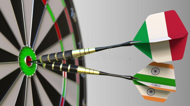 Flags of Italy and India on darts hitting bullseye of the target. International cooperation or competition conceptual 3D. Flags of Italy and India on darts stock images