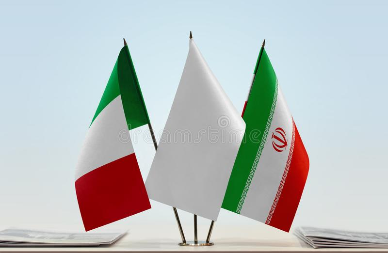 Flags of Italy and Iran stock images