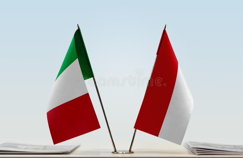 Flags of Italy and Monaco royalty free stock images