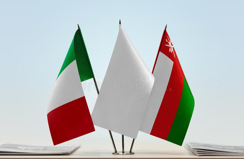 Flags of Italy and Oman. Desktop flags of Italy and Oman with white flag in the middle vector illustration