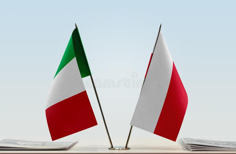 Flags of Italy and Poland royalty free stock images