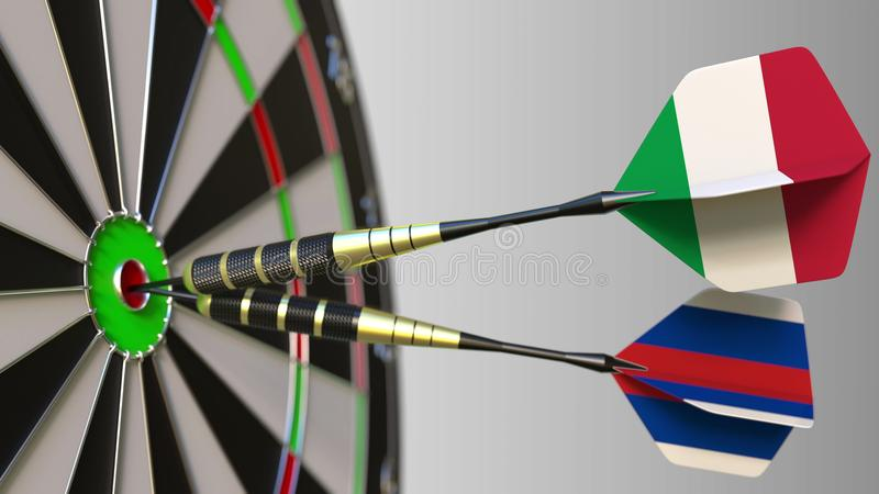 Flags of Italy and Russia on darts hitting bullseye of the target. International cooperation or competition conceptual. Flags of Italy and Russia on darts stock images