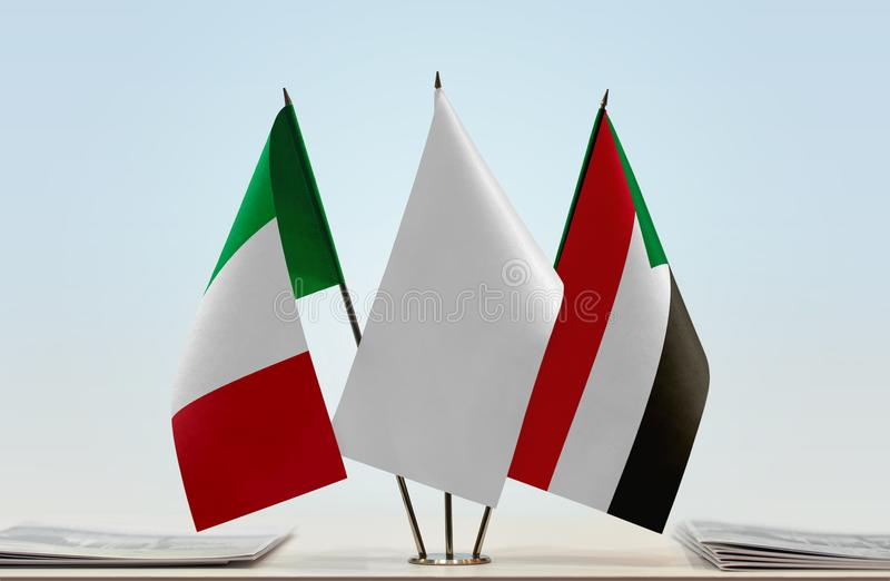 Flags of Italy and Sudan. Desktop flags of Italy and Sudan with white flag in the middle royalty free illustration