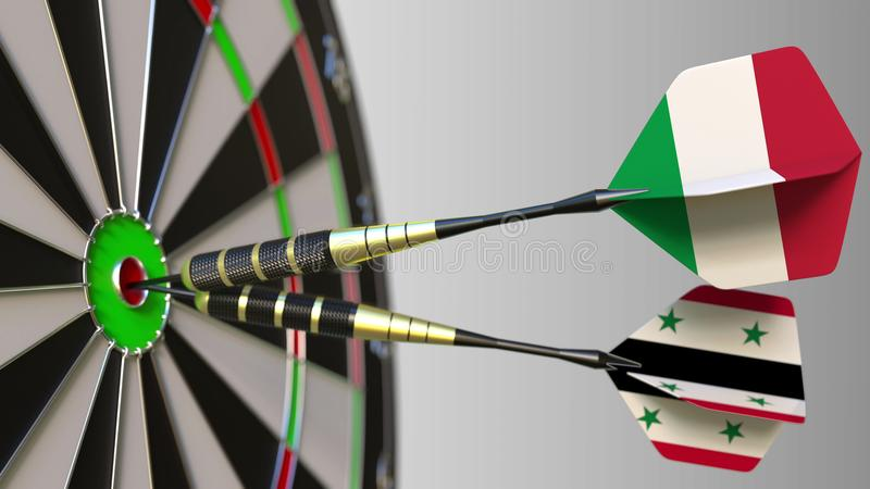 Flags of Italy and Syria on darts hitting bullseye of the target. International cooperation or competition conceptual 3D. Flags of Italy and Syria on darts royalty free stock photography