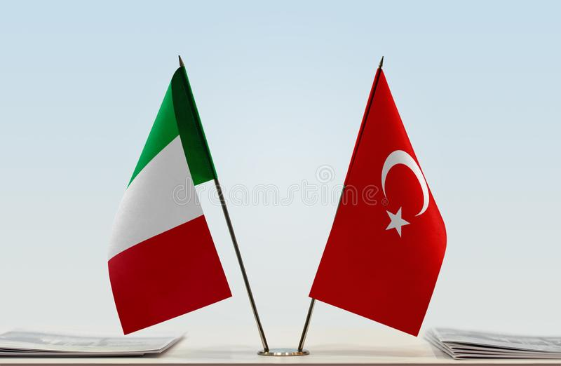 Flags of Italy and Turkey stock photo