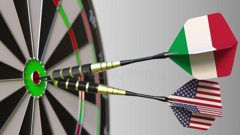 Flags of Italy and the USA on darts hitting bullseye of the target. International cooperation or competition conceptual. Flags of Italy and the USA on darts royalty free stock images