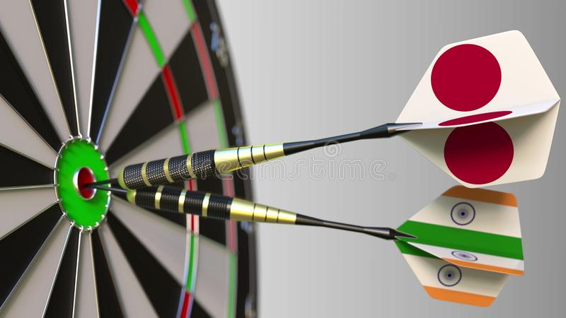 Flags of Japan and India on darts hitting bullseye of the target. International cooperation or competition conceptual 3D. Flags of Japan and India on darts royalty free stock images