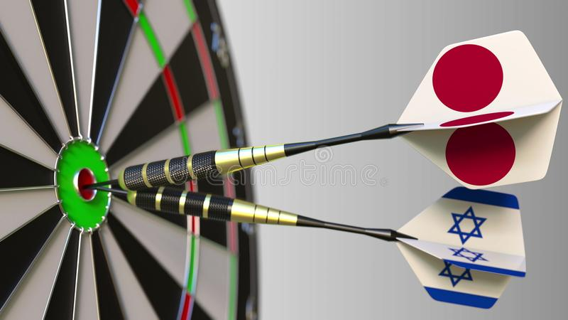 Flags of Japan and Israel on darts hitting bullseye of the target. International cooperation or competition conceptual. Flags of Japan and Israel on darts stock image
