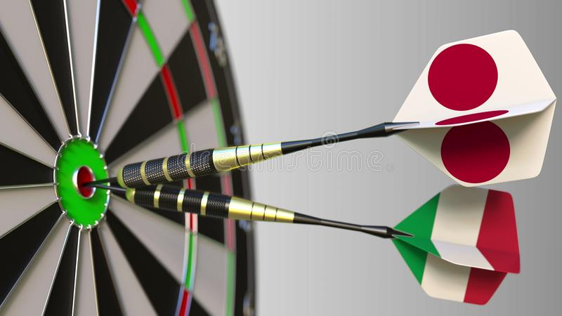 Flags of Japan and Italy on darts hitting bullseye of the target. International cooperation or competition conceptual 3D. Flags of Japan and Italy on darts stock photo