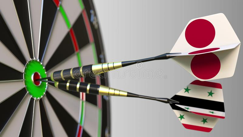Flags of Japan and Syria on darts hitting bullseye of the target. International cooperation or competition conceptual 3D. Flags of Japan and Syria on darts stock photos