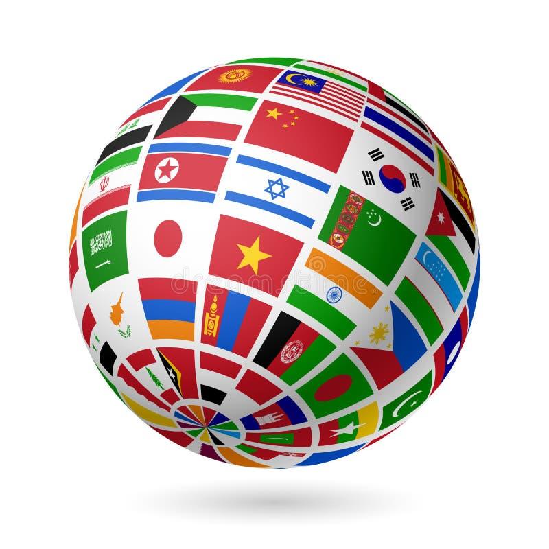 Flags jordklotet. Asien. stock illustrationer