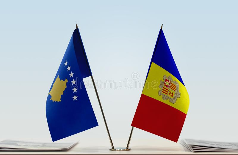 Flags of Kosovo and Andorra. Two table flags of Kosovo and Andorra royalty free stock photography