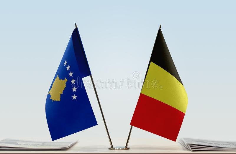 Flags of Kosovo and Belgium. Two table flags of Kosovo and Belgium stock photography