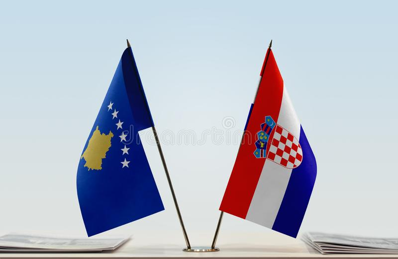 Flags of Kosovo and Croatia. Two table flags of Kosovo and Croatia stock image