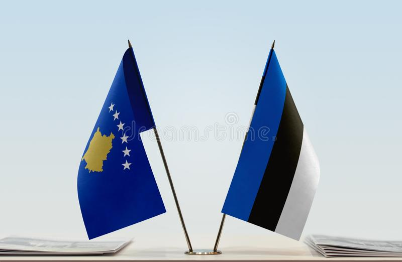 Flags of Kosovo and Estonia. Two table flags of Kosovo and Estonia royalty free stock image