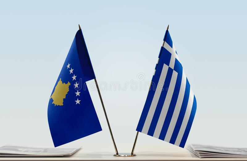 Flags of Kosovo and Greece. Two table flags of Kosovo and Greece royalty free stock images