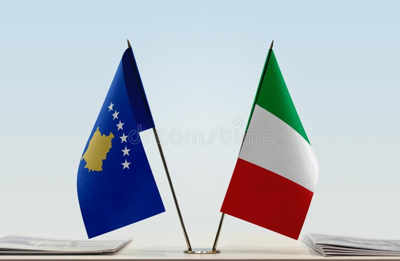 Flags of Kosovo and Italy royalty free stock images