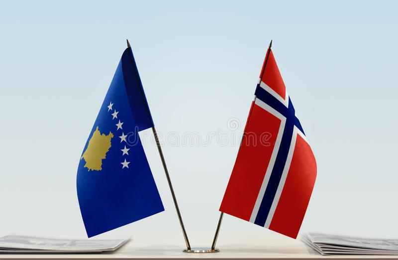 Flags of Kosovo and Norway. Two table flags of Kosovo and Norway stock photo