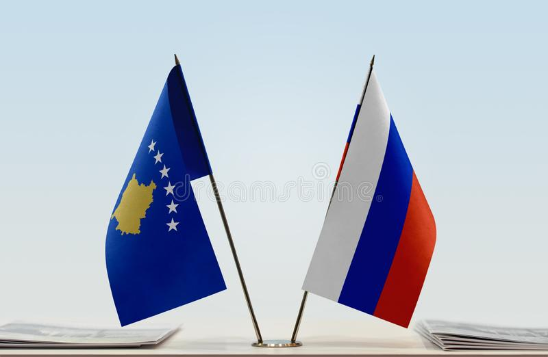Flags of Kosovo and Russia. Two table flags of Kosovo and Russia royalty free stock photos