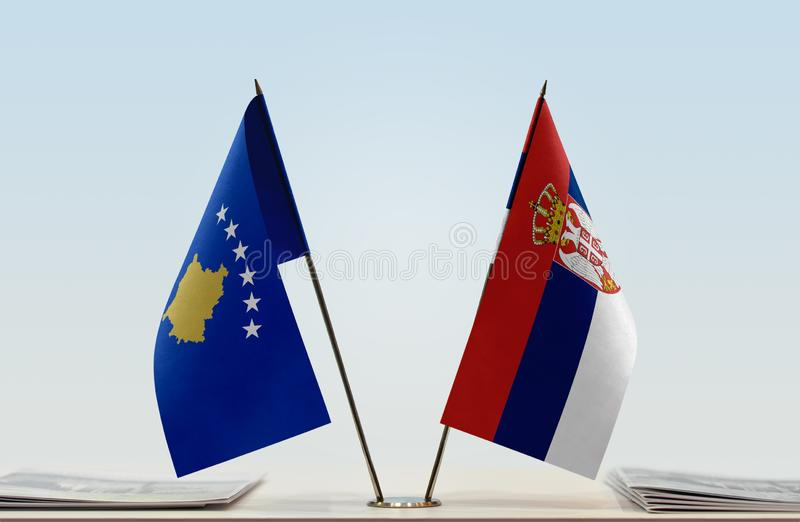 Flags of Kosovo and Serbia stock photos