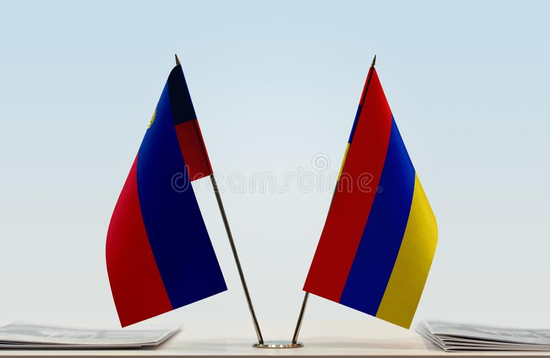 Flags of Latvia and Ukraine royalty free stock photography