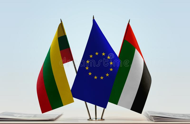 Flags of Lithuania EU and UAE. Desktop flags of Lithuania and UAE with European Union flag in the middle royalty free illustration