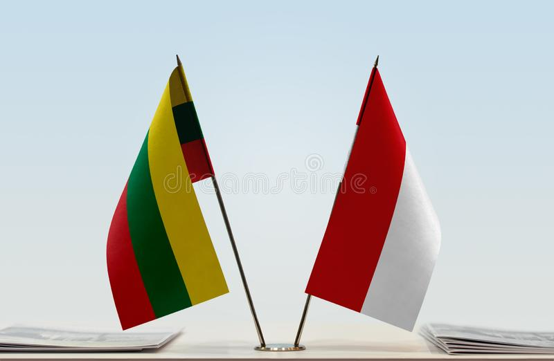 Flags of Lithuania and Monaco stock images