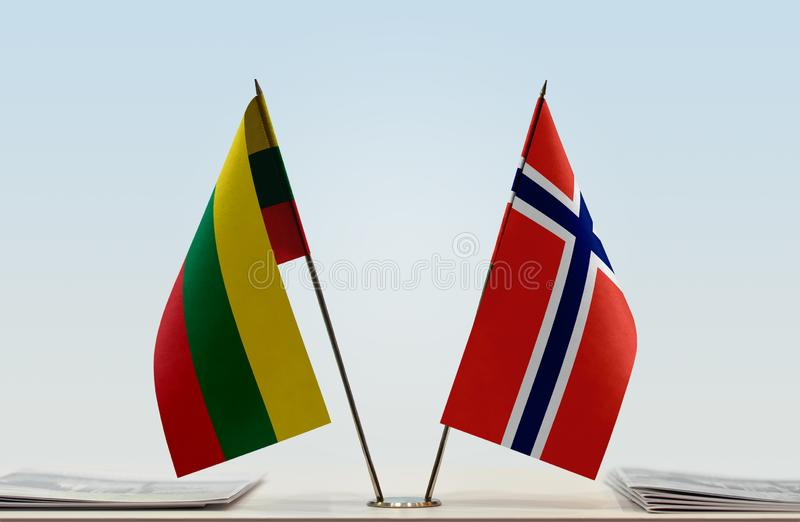 Flags of Lithuania and Norway stock photos