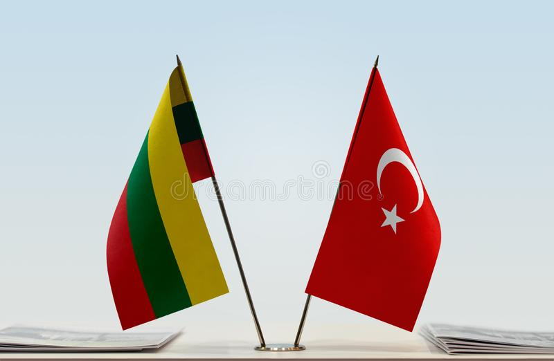 Flags of Lithuania and Turkey stock photography