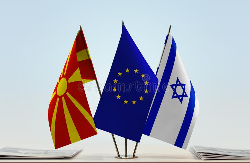 Flags of Macedonia EU and Israel stock photo