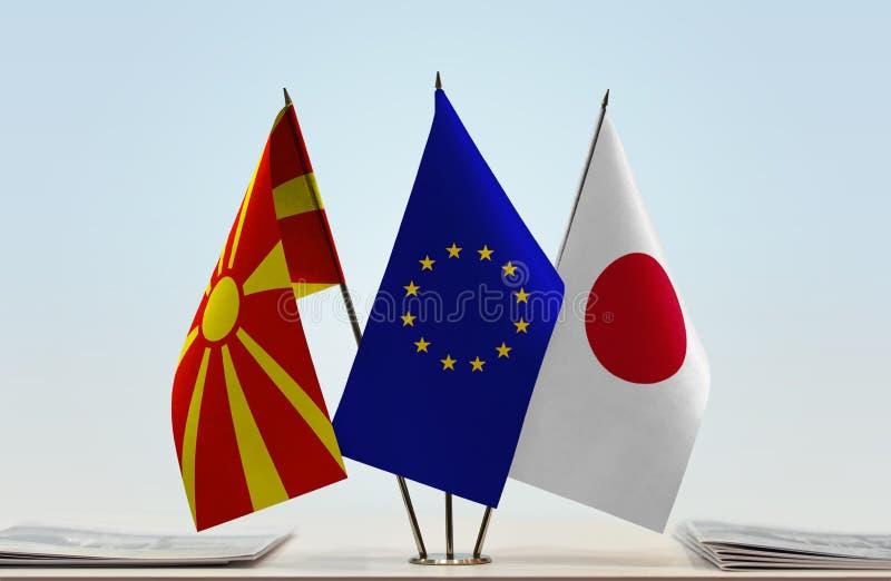 Flags of Macedonia EU and Japan stock photos