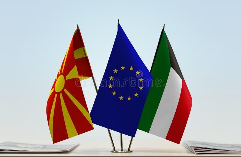 Flags of Macedonia EU and Kuwait stock photos