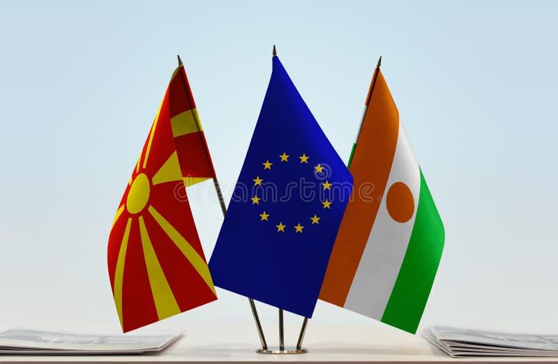 Flags of Macedonia EU and Niger stock photos