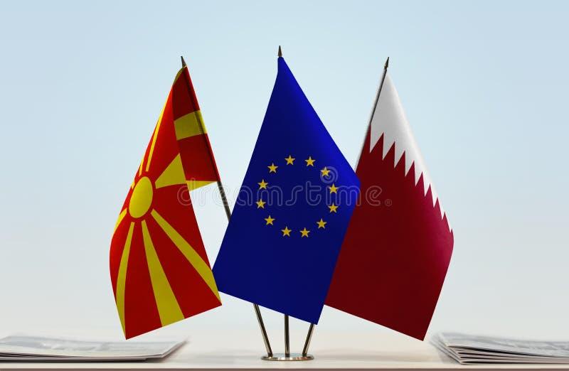 Flags of Macedonia EU and Qatar royalty free stock photography