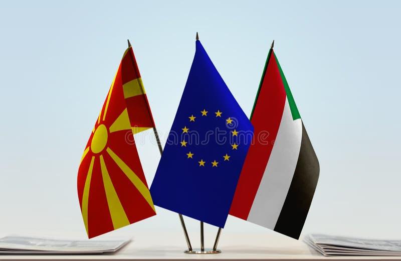 Flags of Macedonia EU and Sudan stock photography
