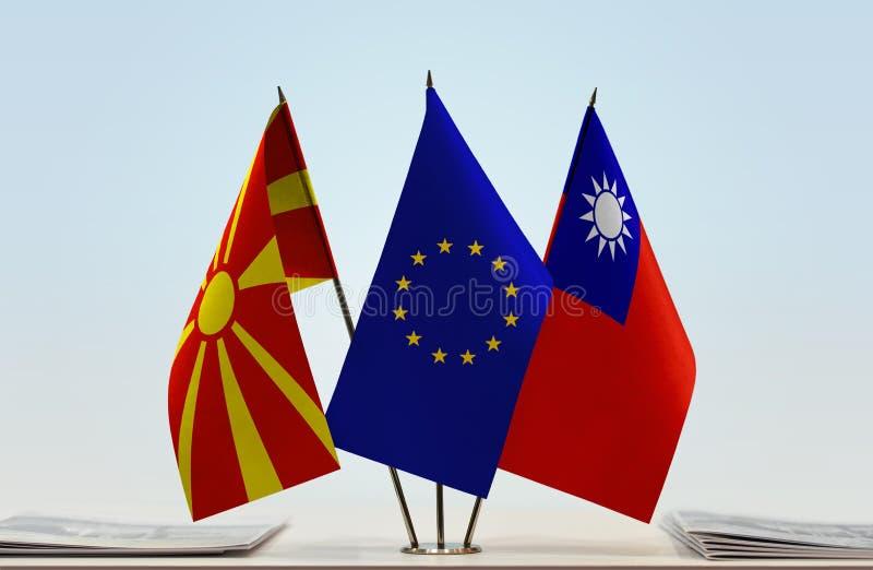 Flags of Macedonia EU and Taiwan stock image