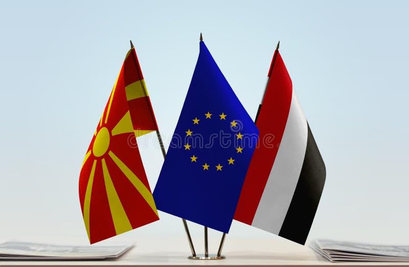 Flags of Macedonia EU and Yemen stock image