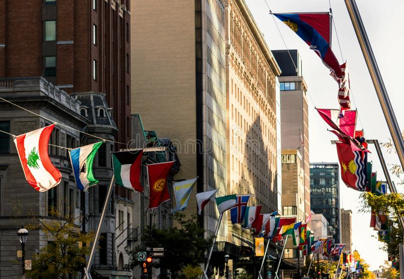Flags on the main street. The Lebanese flag shine in Sherbrook street in downtown Montreal stock photos