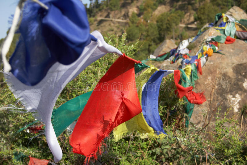 Flags with mantras royalty free stock images