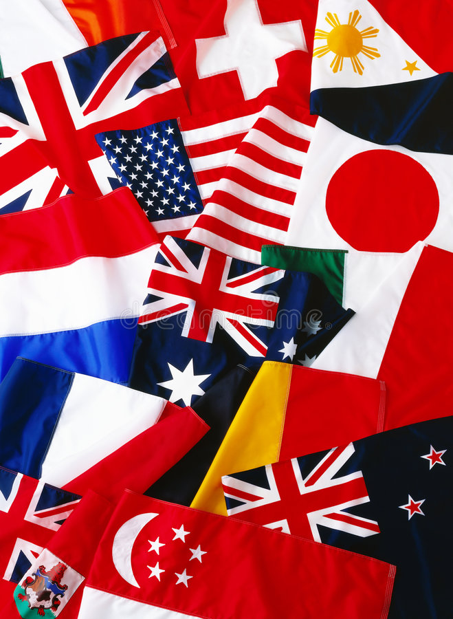Flags of many nations stock images