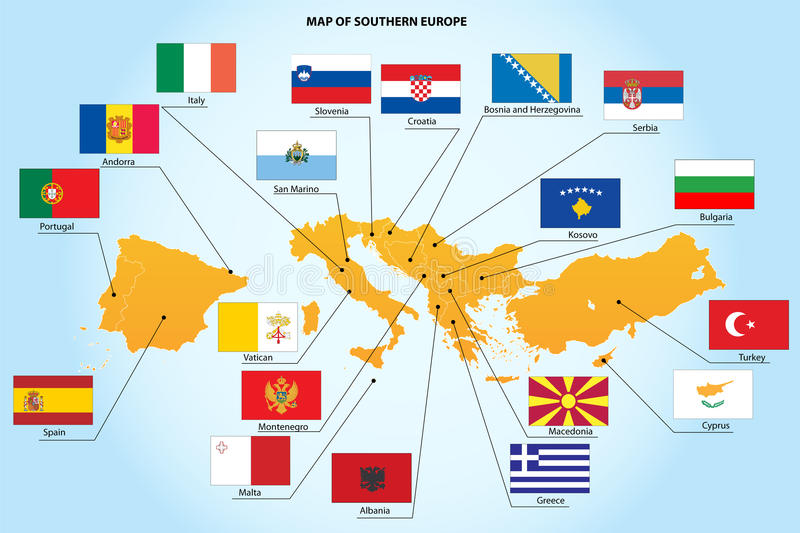Flags and map of southern Europe countries. A set flags and map of 19 southern Europe countries isolated on a background royalty free illustration