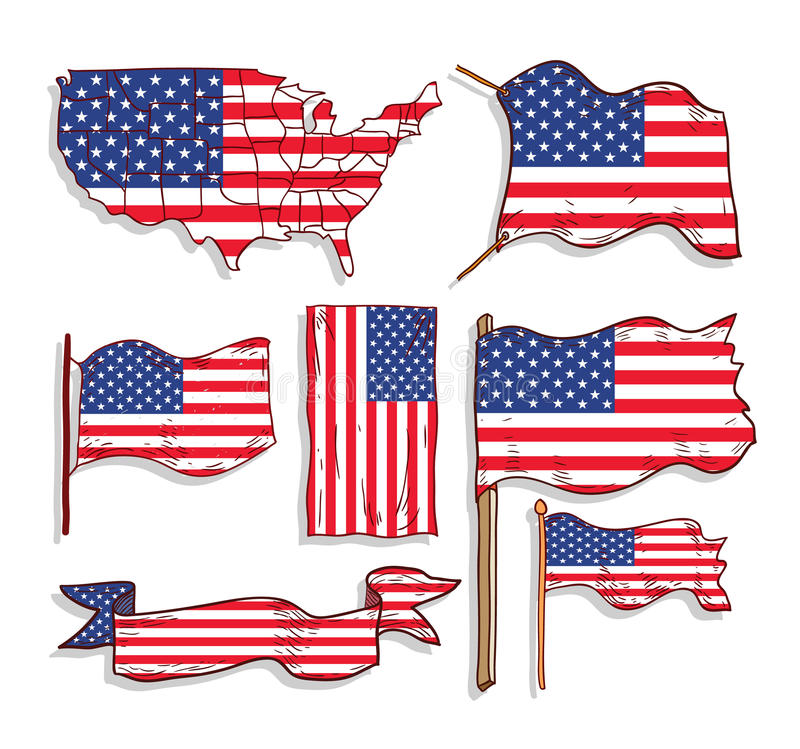 download flags and map of united states of america icon collection vector ilration