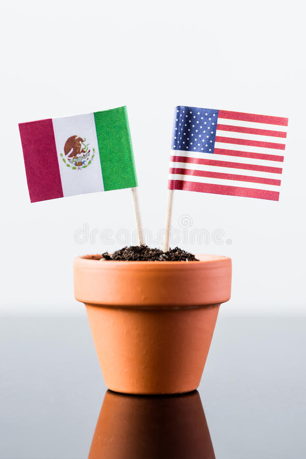 Flags of mexico and the united states stock photos