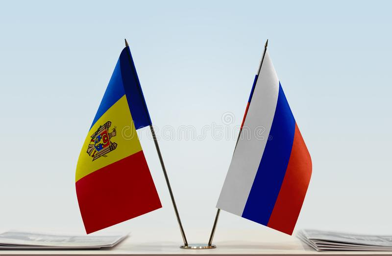 Flags of Moldova and Russia. Two table flags of Moldova and Russia royalty free stock photo