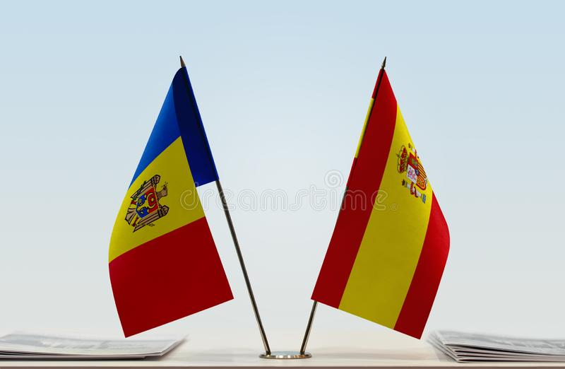 Flags of Moldova and Spain. Two table flags of Moldova and Spain royalty free stock image