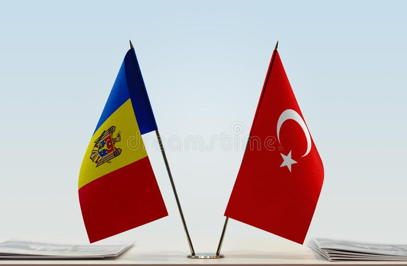 Flags of Moldova and Turkey. Two table flags of Moldova and Turkey royalty free stock images