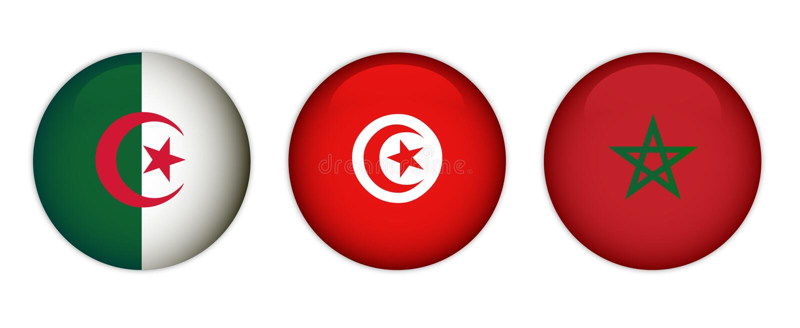 Flags of Morocco, Algeria and Tunisia royalty free stock photos
