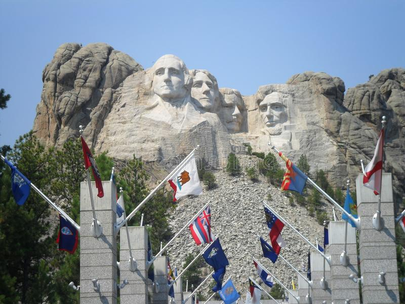 Flags in Mount Rushmore National Memorial royalty free stock images