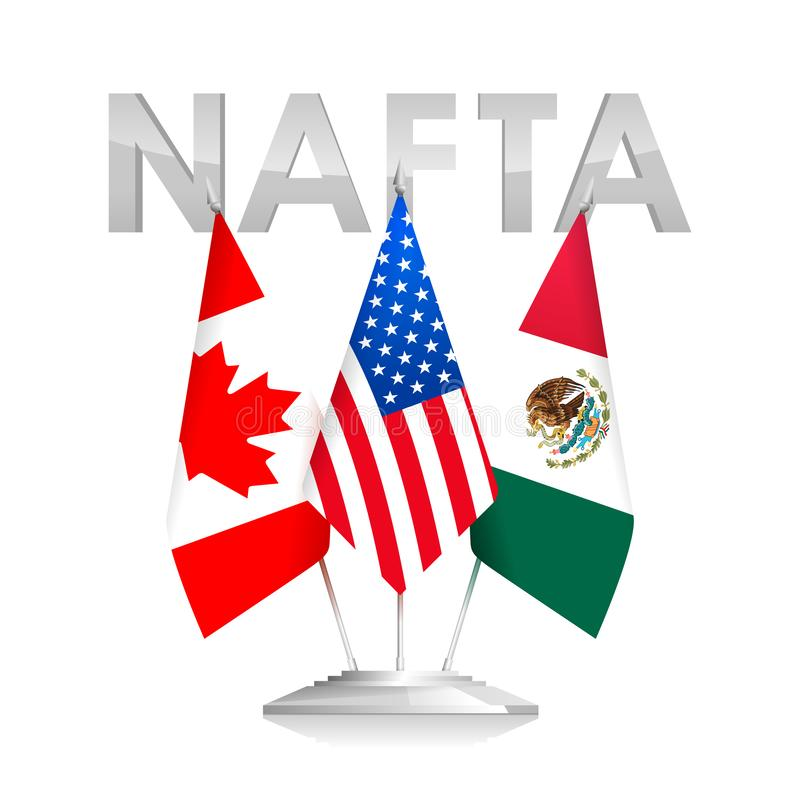 Flags of NAFTA Countries Canada, USA and Mexico stock illustration