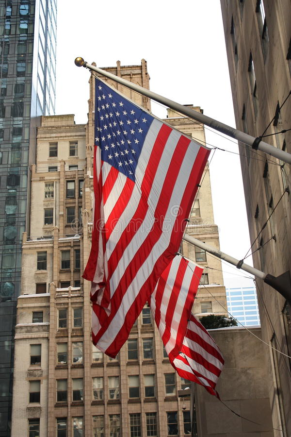 Flags in New York City. Two American flags in New York City stock photo